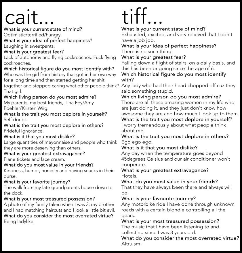 caitandtiff proust questionnaire