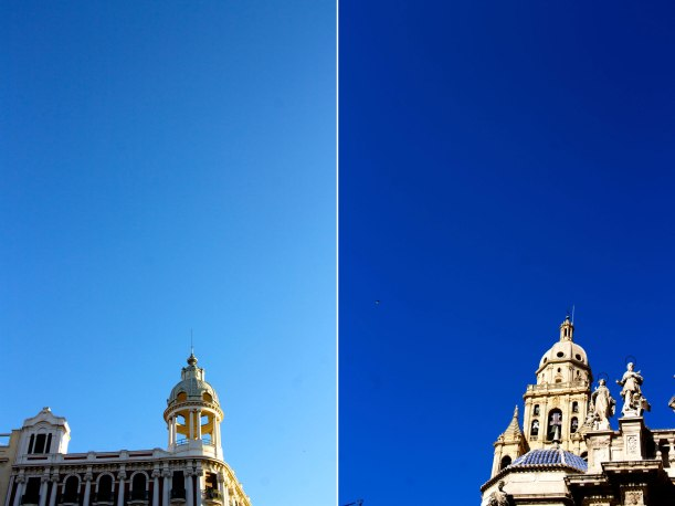Blue skies, negative space and towers in Murcia.