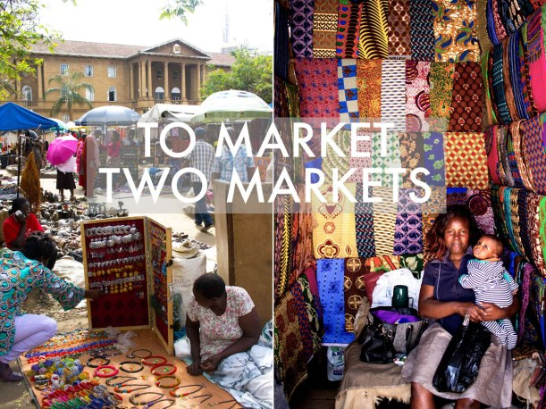 Left: The Masai Market at the High Courts of Nairobi, Right: Maureen and Ryan at Toi Market