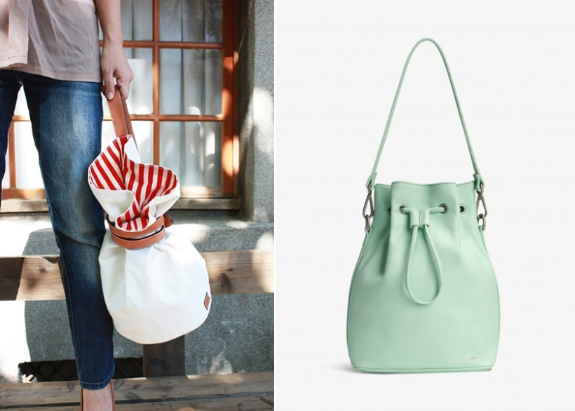 QuoteBagStudio Leather and Canvas Seabag (left) and Matt and Nat Isshiki Bucket Bag in Mint.