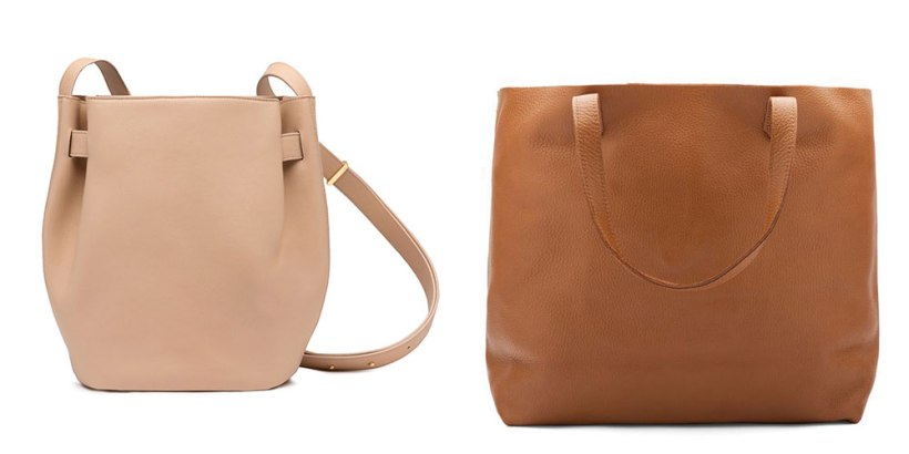 Cuyana Structured Cinch Bag and Classic Leather Tote.